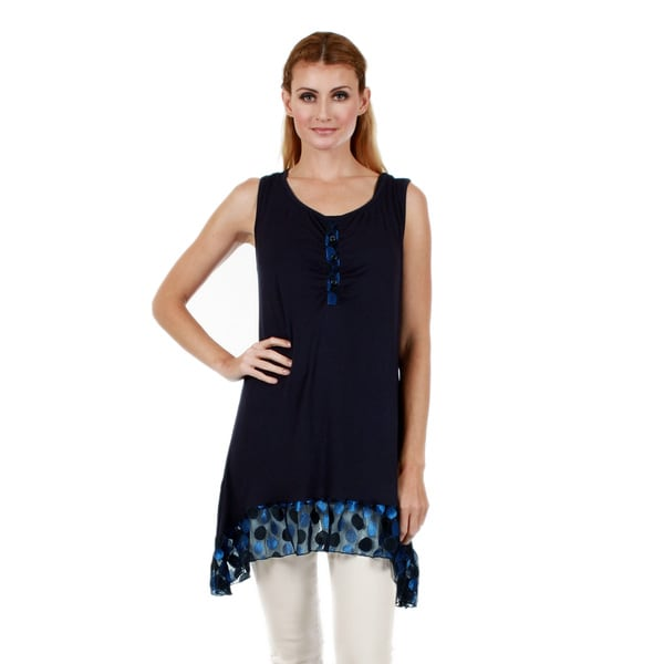 Firmiana Women's Sleeveless Blue Polka Dot Ruffle Tunic