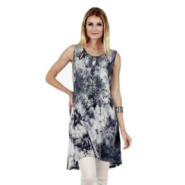 Firmiana Women's Sleeveless Grey and White Tie-dye Tunic