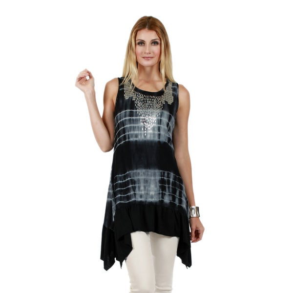 Firmiana Women's Sleeveless Black and Grey Sidetail Tunic