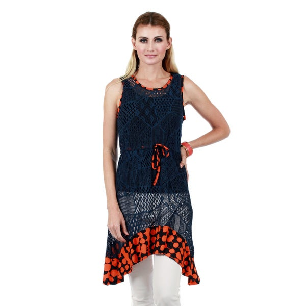 Firmiana Women's Sleeveless Blue and Orange Crochet Ruffle Tunic