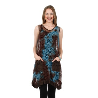 Firmiana Women's Sleeveless Blue and Brown Pocket Ruffle Tunic