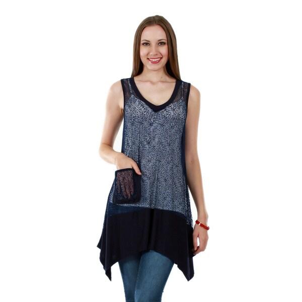 Firmiana Women's Sleeveless Blue Ruffle Tunic