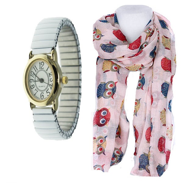 Women's Oval Easy Read White Stretch Band Watch Set Owl Print Scarf
