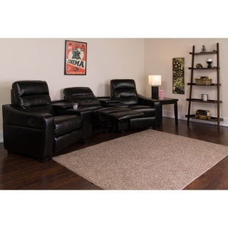Fusion Series 3-seat Reclining Leather Theater Seating Unit with Cup Holders
