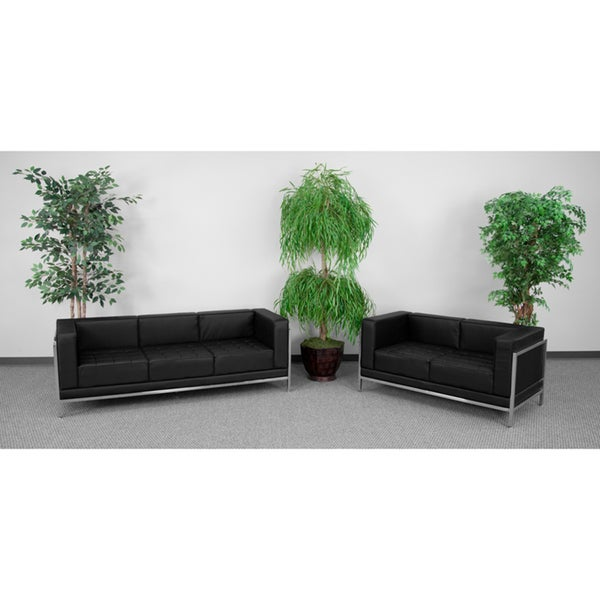 HERCULES Imagination Series Black Leather Sofa and Love Seat Set