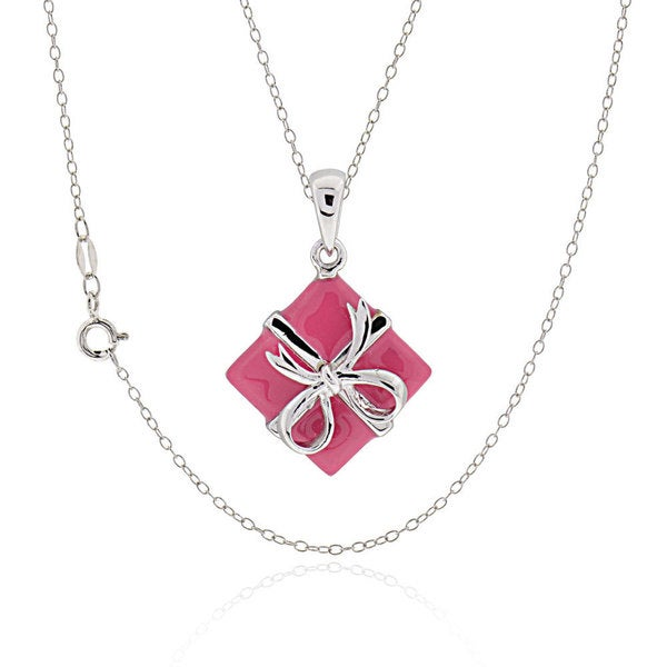 Sterling Silver Pink Enamel Gift Box Necklace