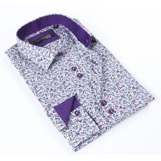 Dolce Guava Men's Purple Patterned Button-down Shirt