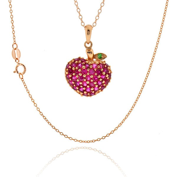 Sterling Silver Rose Gold Plated Synthetic Ruby Strawberry Necklace