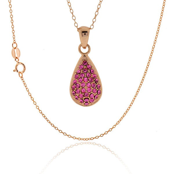 Sterling Silver Rose Gold Plated Round Swarovski Crystal Necklace