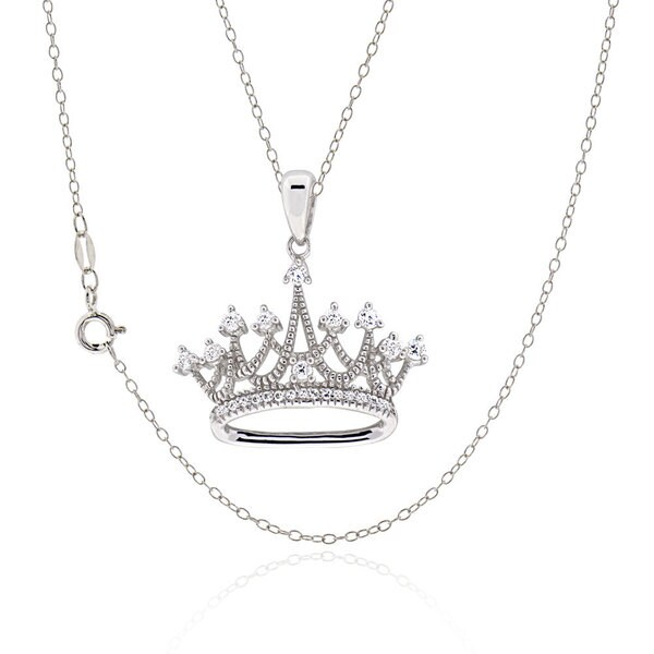 Sterling Silver Round Cubic Zirconia Crown Necklace