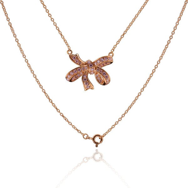 Sterling Silver Rose Gold Plated Cubic Zirconia Bowknot Fashion Necklace