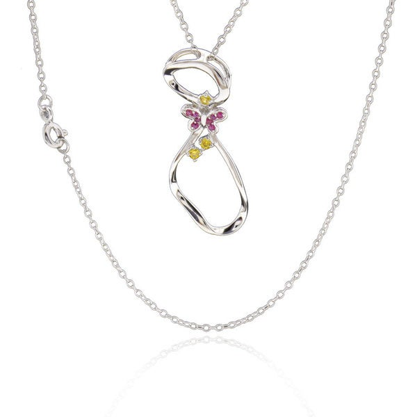 Sterling Silver Round Cubic Zirconia and Synthetic Ruby Necklace