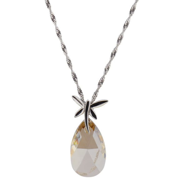 Sterling Silver Pear Genuine Swarovski Necklace (Chine)