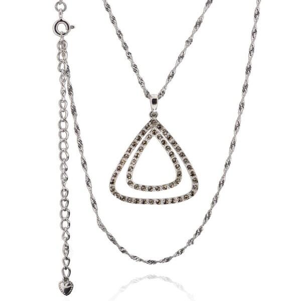 Sterling Silver Swarovski Crystal Triangle Necklace