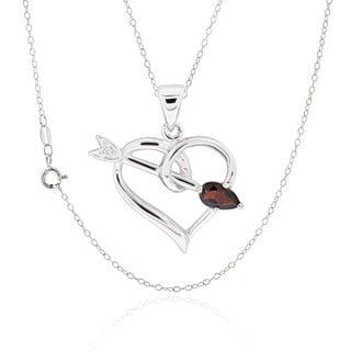 Sterling Silver Pear Garnet Necklace