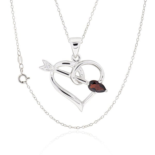 Sterling Silver Pear Garnet Necklace
