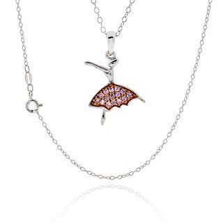 Sterling Silver Round Cubic Zirconia Ballerina Necklace