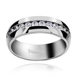Men's Titanium Cubic Zirconia Comfort Fit Domed Band Ring