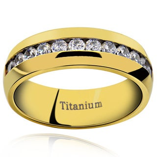 Men's Titanium Gold Plated Cubic Zirconia Comfort Fit Domed Band Ring