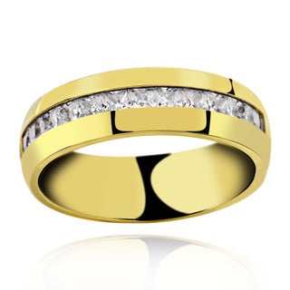 Men's Titanium Gold Plated Princess Cut Cubic Zirconia Comfort Fit Domed Band Ring
