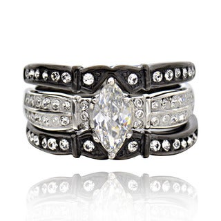 Stainless Steel Cubic Zirconia 3-piece Black and White Bridal Ring Set