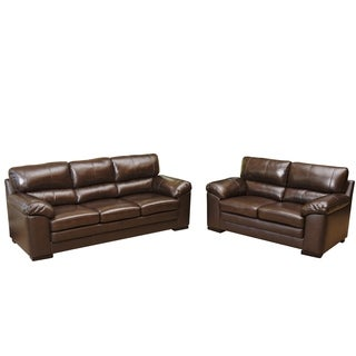 Abbyson Living Concord Top Grain Leather Sofa and Loveseat