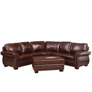 Troy Chestnut Brown Italian Leather Sectional Sofa And