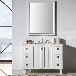 Contemporary Style 48-inch Carrara White Marble Top Single Sink Bathroom Vanity with Wall Mirror