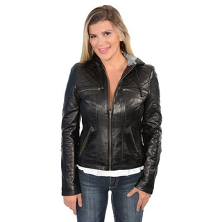 7th Ave Women's Lambskin Leather Hooded Scuba Drawstring Jacket