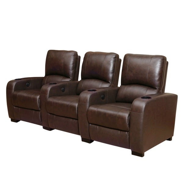 Abbyson Jackson Brown Leather Power Theater Recliners 16329438