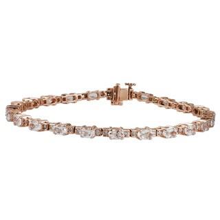 10k Rose Gold 1 1/6 TDW White Diamond Morganite Gemstone Bracelet (G-H, I1-I2)