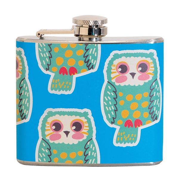 Green Owl Fun 5-ounce Blue Party Flask