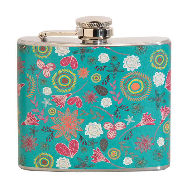 Pink Floral Pattern Fun 5-ounce Green Party Flask