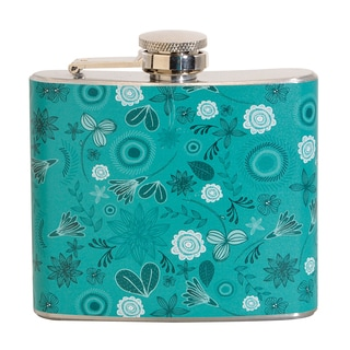Blue Floral Pattern Fun 5-ounce Blue Party Flask