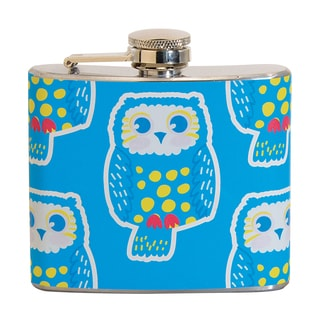 Yellow Owl Fun 5-ounce Blue Party Flask