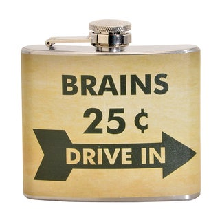 Brains Drive in Fun 5-ounce Beige Party Flask