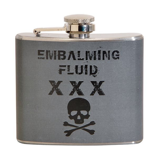 Embalming Fluid Fun 5-ounce Grey Party Flask