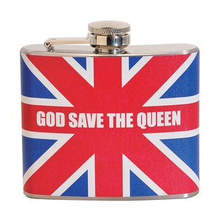 God Save The Queen Fun 5-ounce Multi-color Party Flask