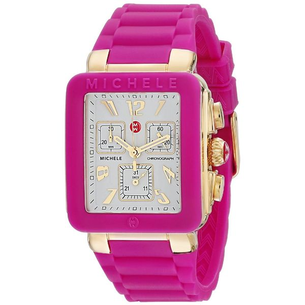 Michele Women's MWW06L000021 'Park Jelly Bean' Chronograph Pink Silicone Watch