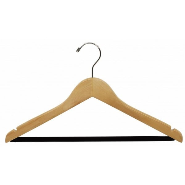 The Great American Hanger Company Natural Suit Hanger with Non-slip bar and Notches (Box of 100)