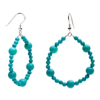 Sterling Silver Round Turquoise Beaded Hoop Earrings
