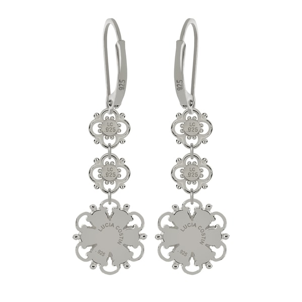 Lucia Costin Silver, White Swarovski Crystal Earrings