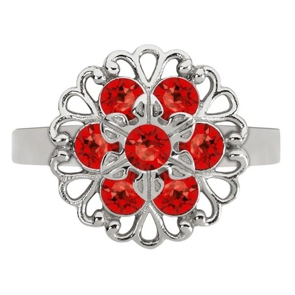 Lucia Costin Silver, Red Swarovski Crystal Ring