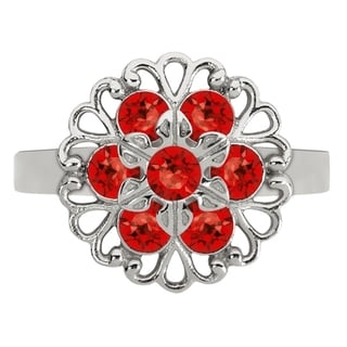 Lucia Costin Silver, Red Austrian Crystal Ring