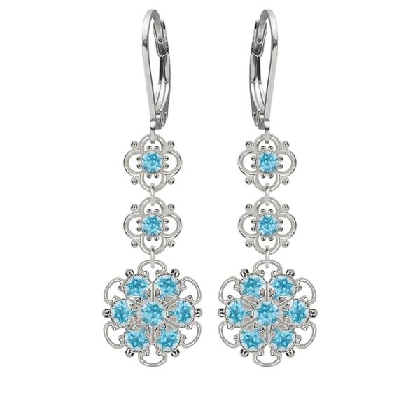 Lucia Costin Silver, Light Blue Austrian Crystal Earrings 16329718