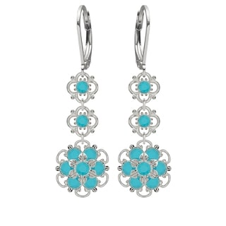 Lucia Costin Silver, Turquoise Swarovski Crystal Earrings
