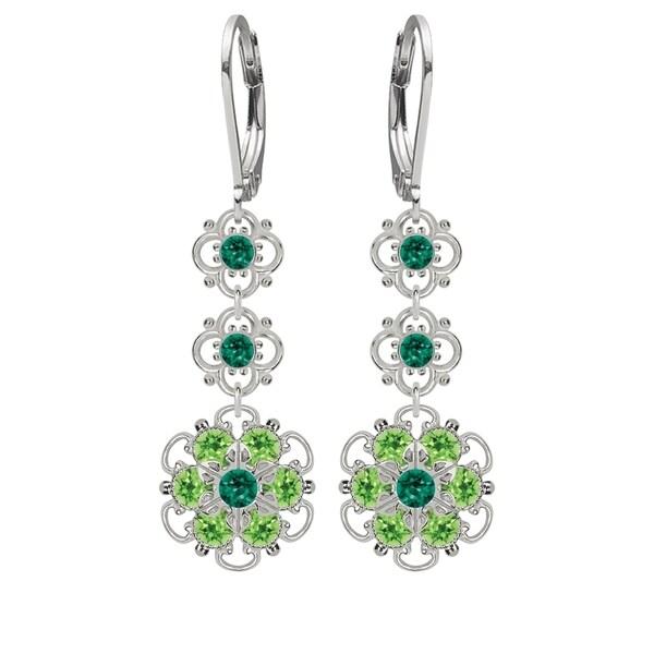 Lucia Costin Silver, Dark Green, Light Green Crystal Earrings