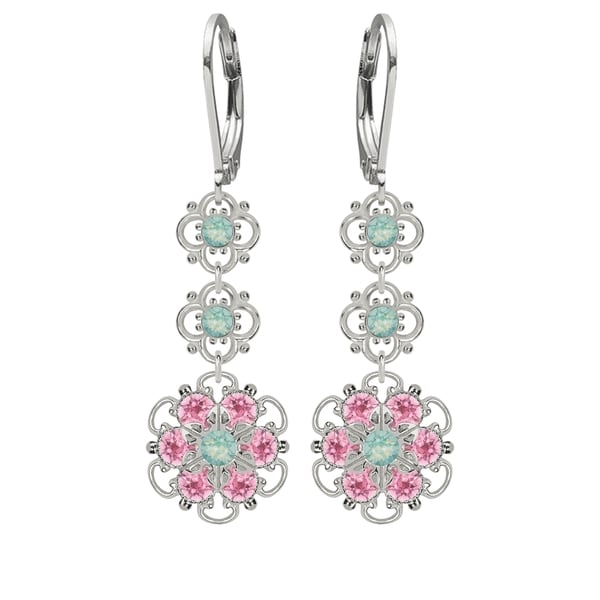 Lucia Costin Silver, Mint Blue, Light Pink Crystal Earrings 16329789