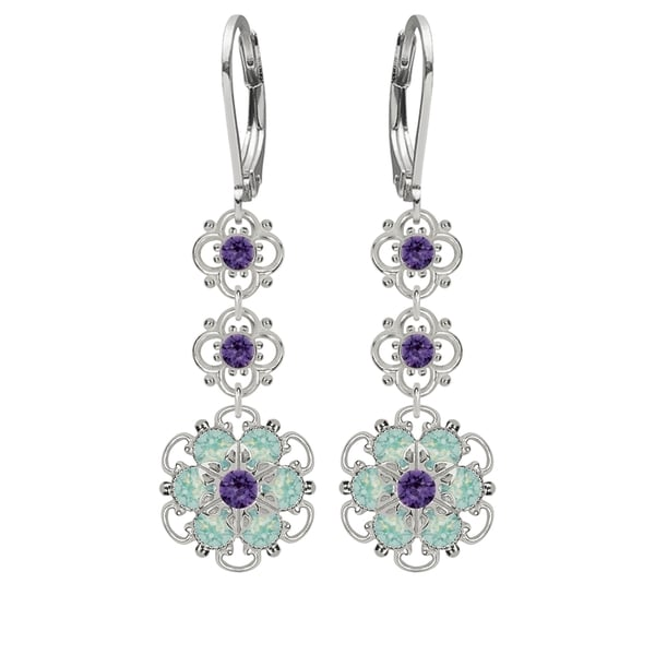 Lucia Costin Silver, Mint Blue, Violet Crystal Earrings 16329791