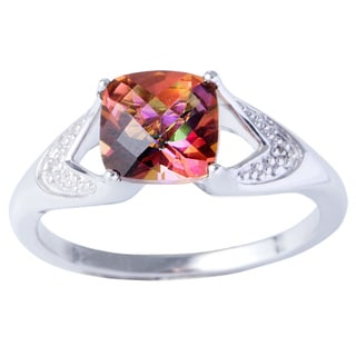 H Star Sterling Silver Sunset Topaz and Diamond Accent Ring (H-I, I2-I3)